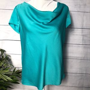 Ann Taylor Turquoise Cowl Neck Tunic - M